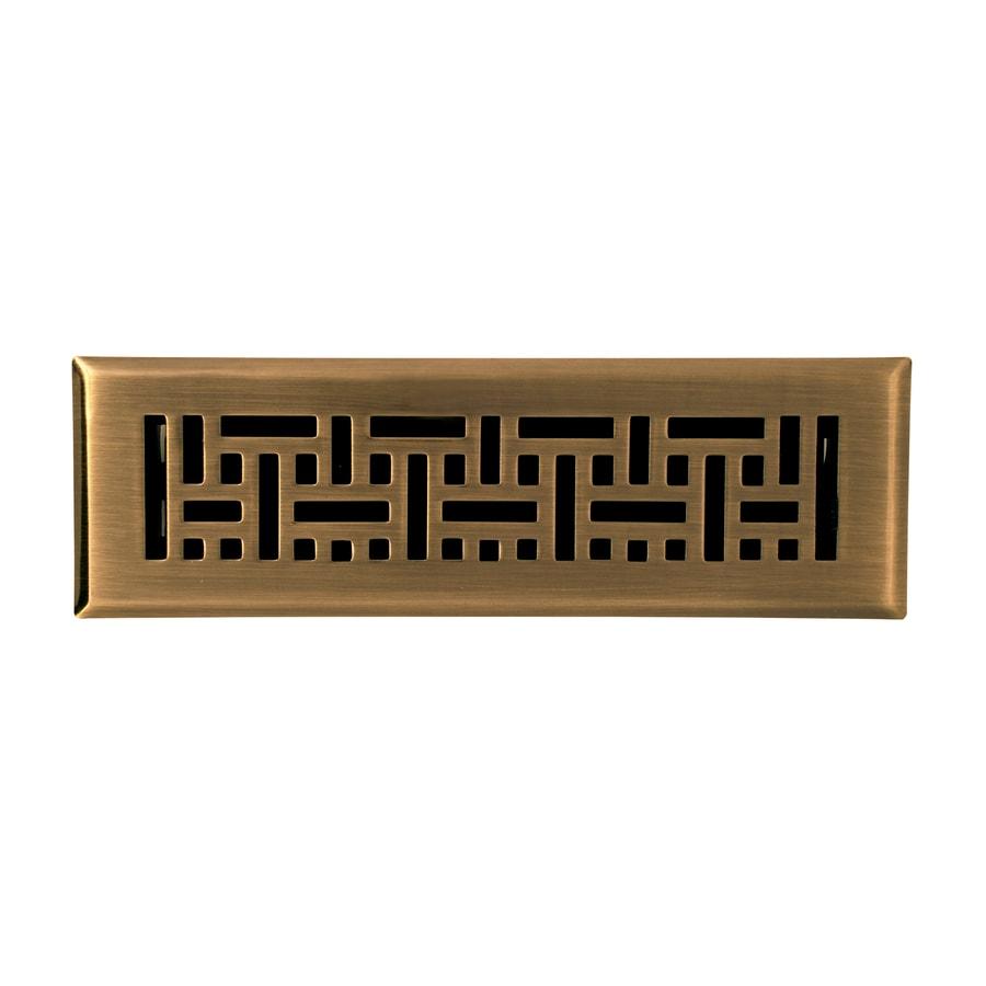 Accord Wicker Antique Brass Steel Floor Register (Rough Opening: 10-in x 2-in; Actual: 11.42-in x 3.6-in)