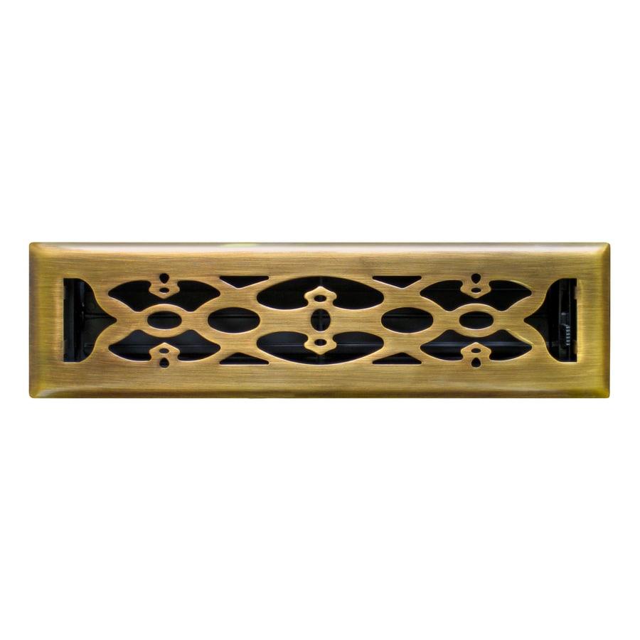 Accord Victorian Antique Brass Steel Floor Register (Rough Opening: 10-in x 2-in; Actual: 11.42-in x 3.6-in)