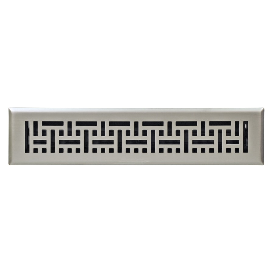 Accord Wicker Satin Nickel Steel Floor Register (Rough Opening: 14 In X 2