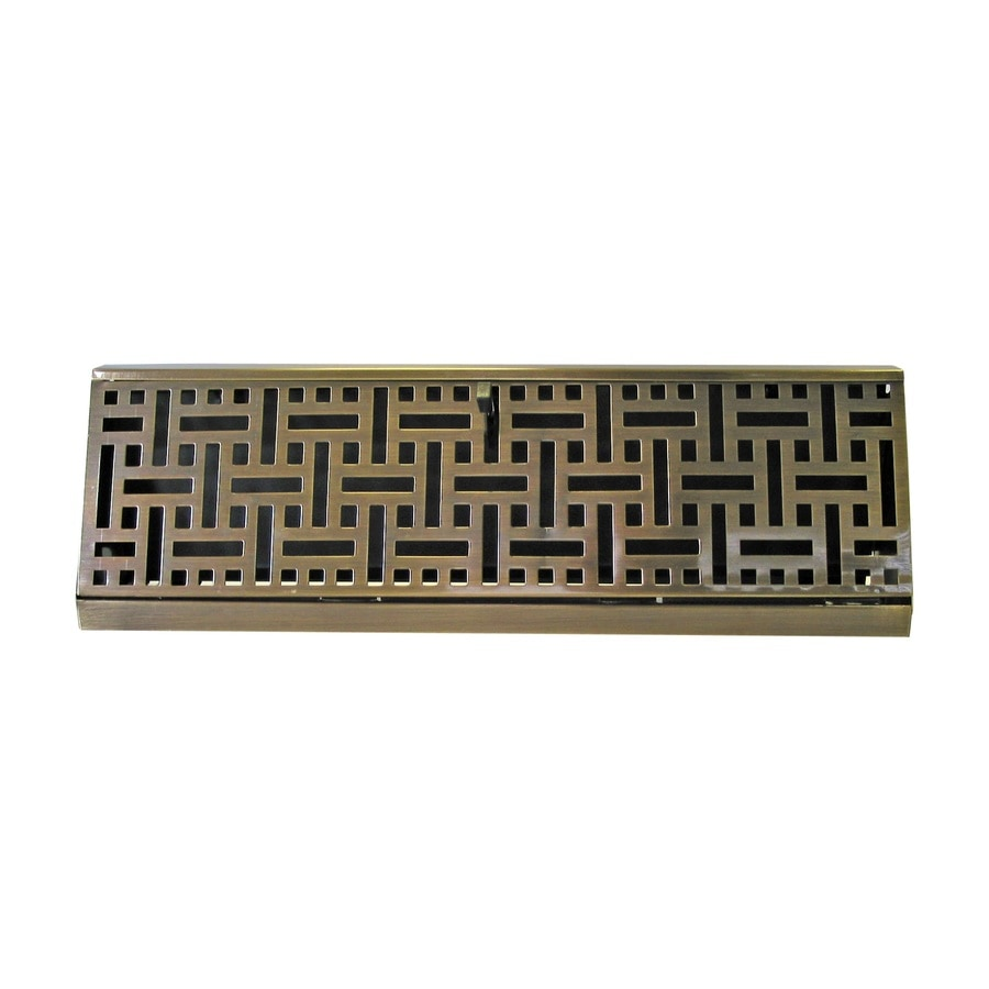 Accord Select Wicker Antique Brass Steel Baseboard Register (Rough Opening: 4.5-in x 15-in; Actual: 15.05-in x 4.5-in)