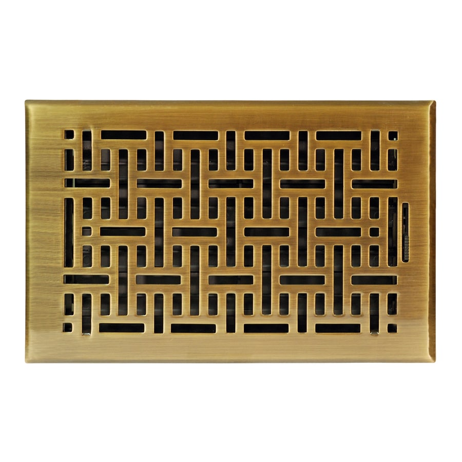 Accord Select Wicker 1.0-Pack Antique Brass Steel Floor Register (Rough Opening: 6.0-in x 10.0-in; Actual: 7.37-in x 11.42-in)