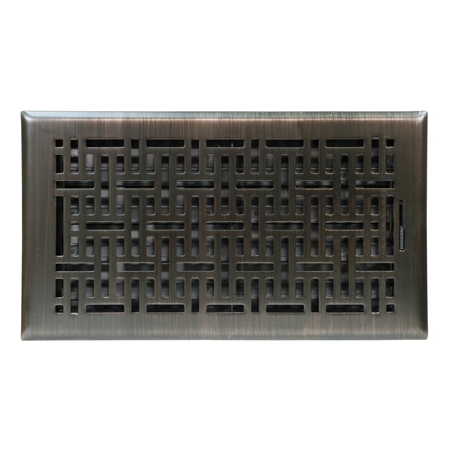 Accord Wicker Oil-Rubbed Bronze Steel Floor Register (Rough Opening: 12-in x 6-in; Actual: 13.42-in x 7.37-in)