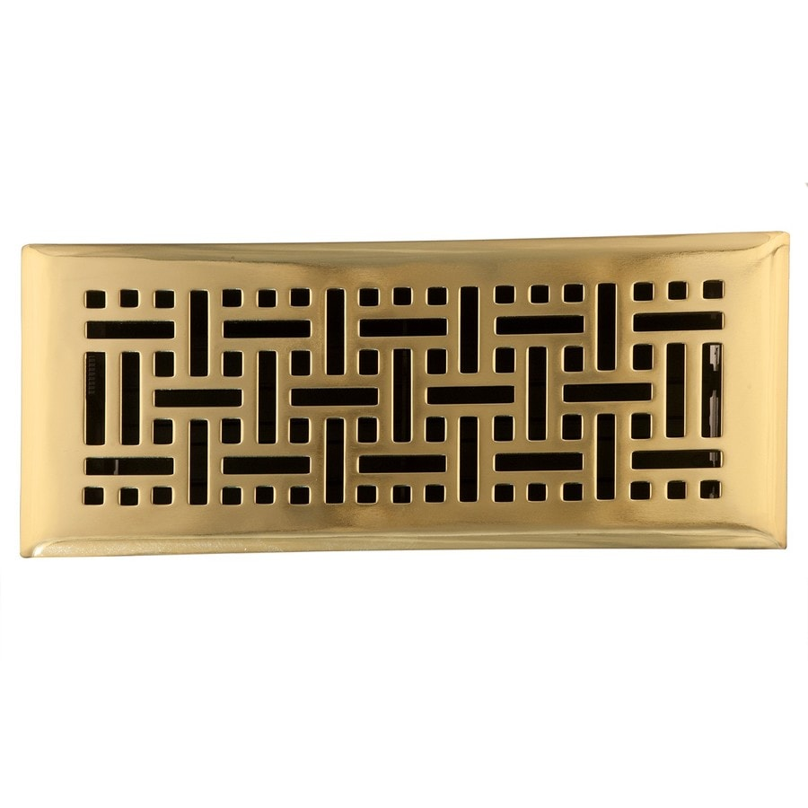 Accord Select Wicker Polished Brass Steel Floor Register (Rough Opening: 3-in x 10-in; Actual: 11.5-in x 4.5-in)