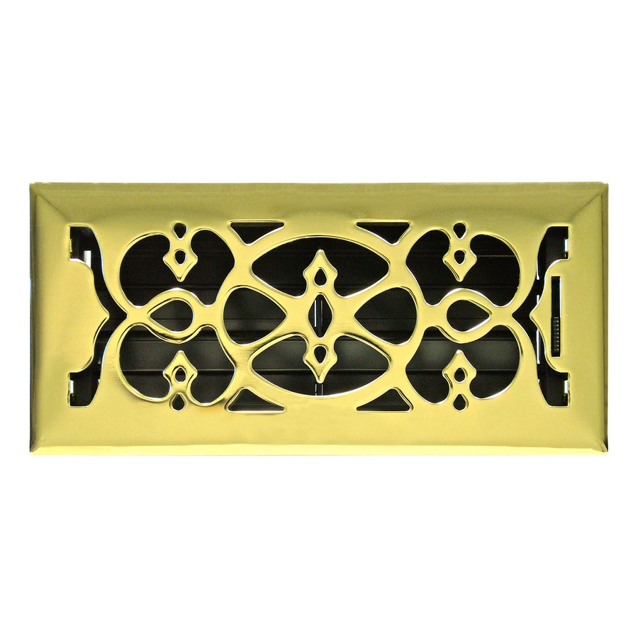 Accord Select Victorian Polished Brass Steel Floor Register (Rough Opening: 10.0-in x 3.0-in; Actual: 4.5-in x 11.5-in)