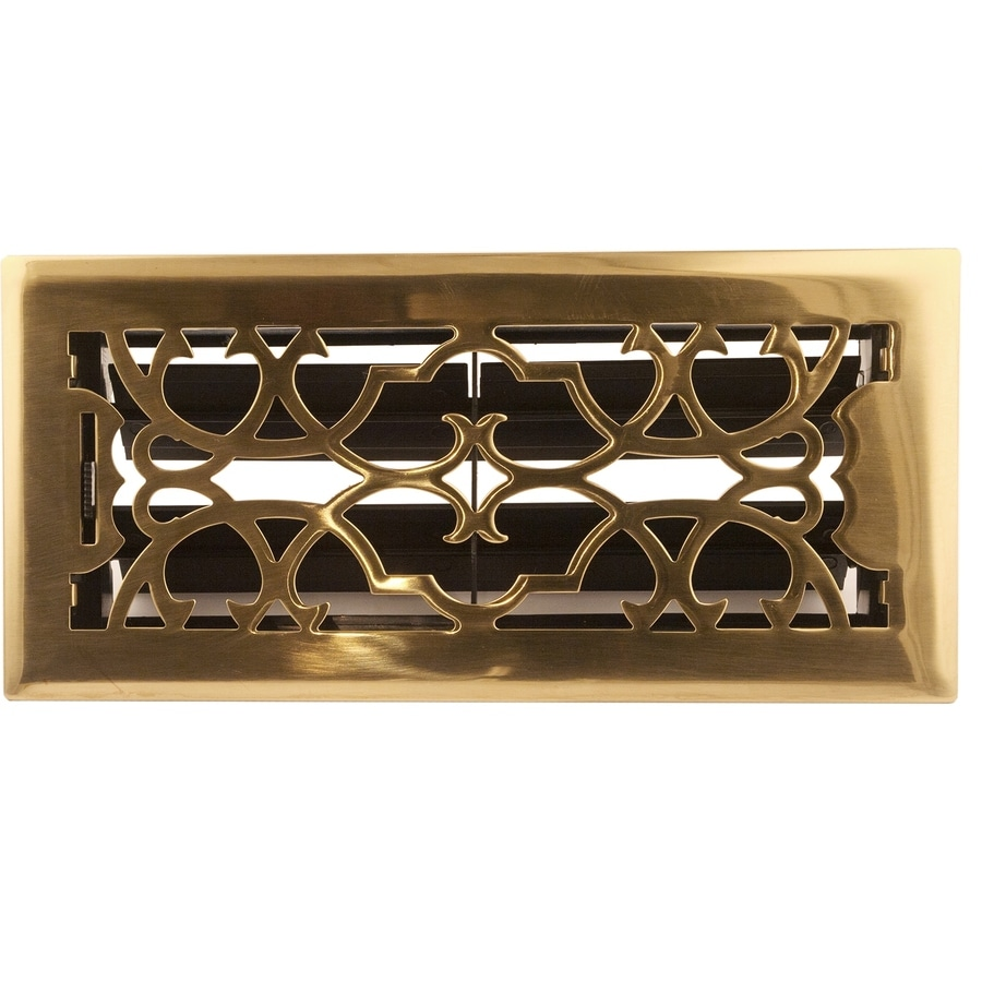 Accord Select Victorian Polished Brass Solid Brass Floor Register (Rough Opening: 10.0-in x 3.0-in; Actual: 4.5-in x 11.5-in)