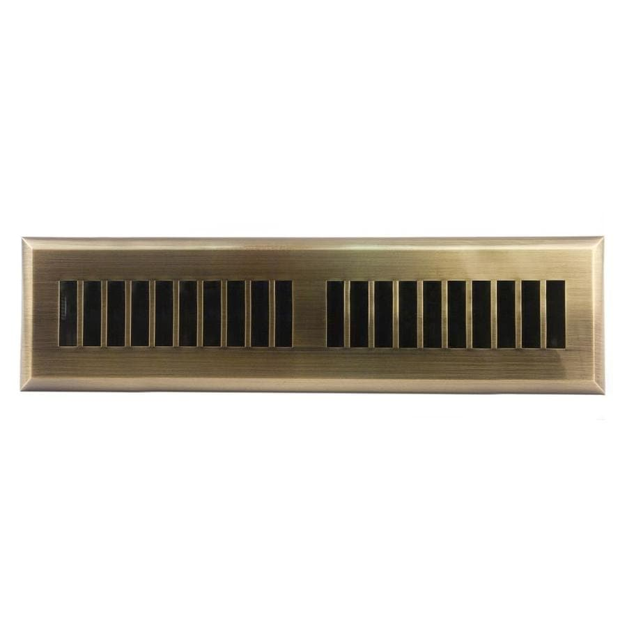 Accord Select Louvered Antique Brass ABS Resin Floor Register (Rough Opening: 12-in x 2-in; Actual: 13.39-in x 3.58-in)