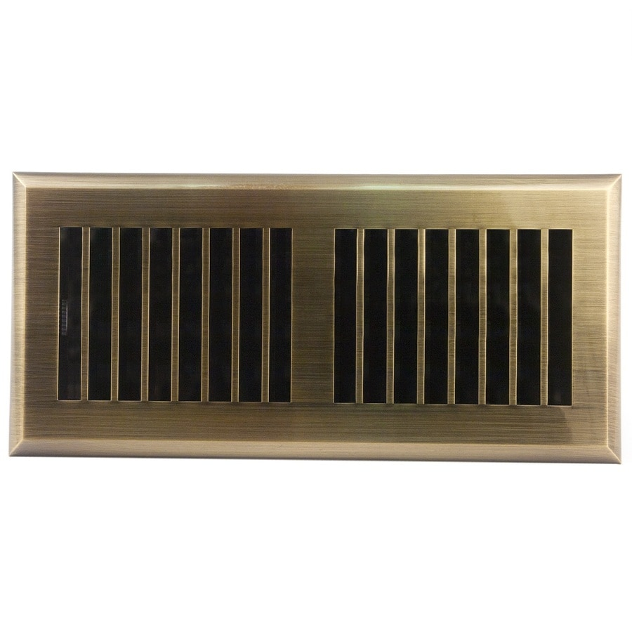 Accord Select Louvered Antique Brass Abs Resin Floor Register (Rough Opening: 10-in x 4-in; Actual: 11.42-in x 5.38-in)