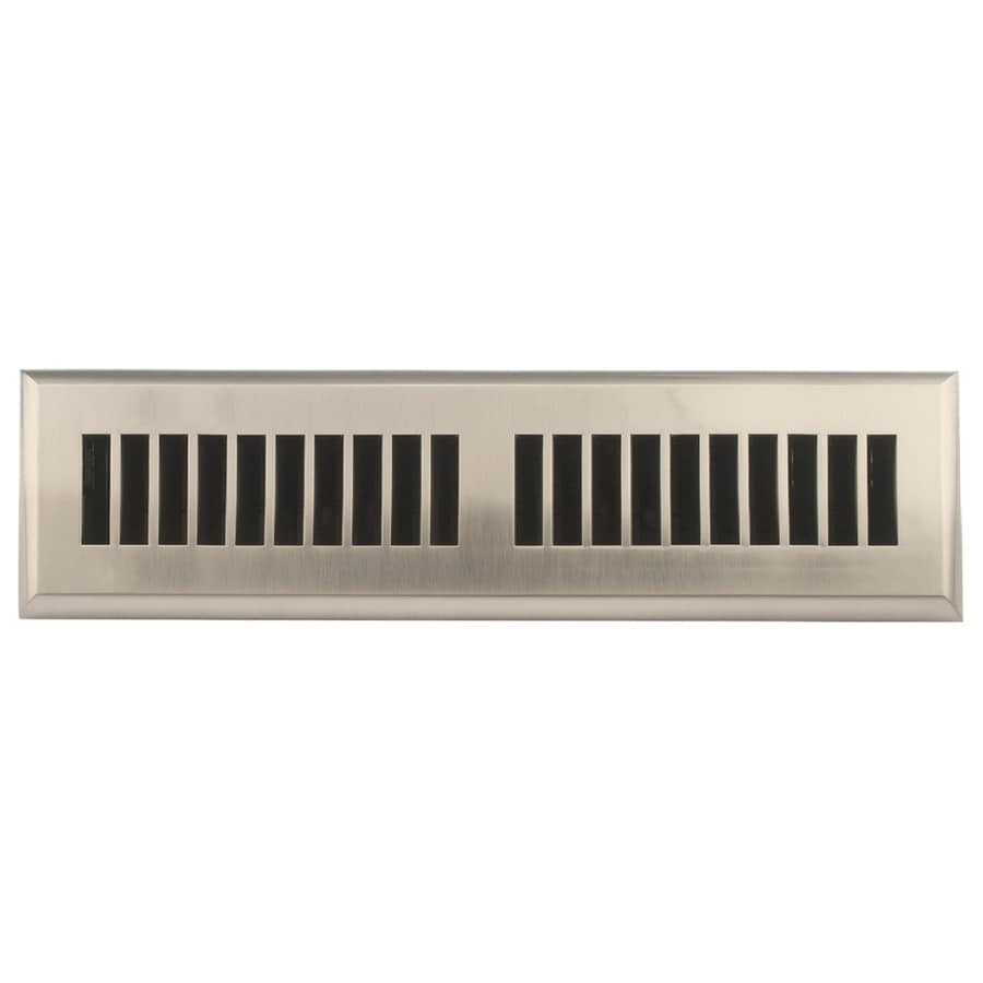 Accord Select Louvered Satin Nickel ABS Resin Floor Register (Rough Opening: 12.0-in x 2.0-in; Actual: 13.41-in x 3.62-in)