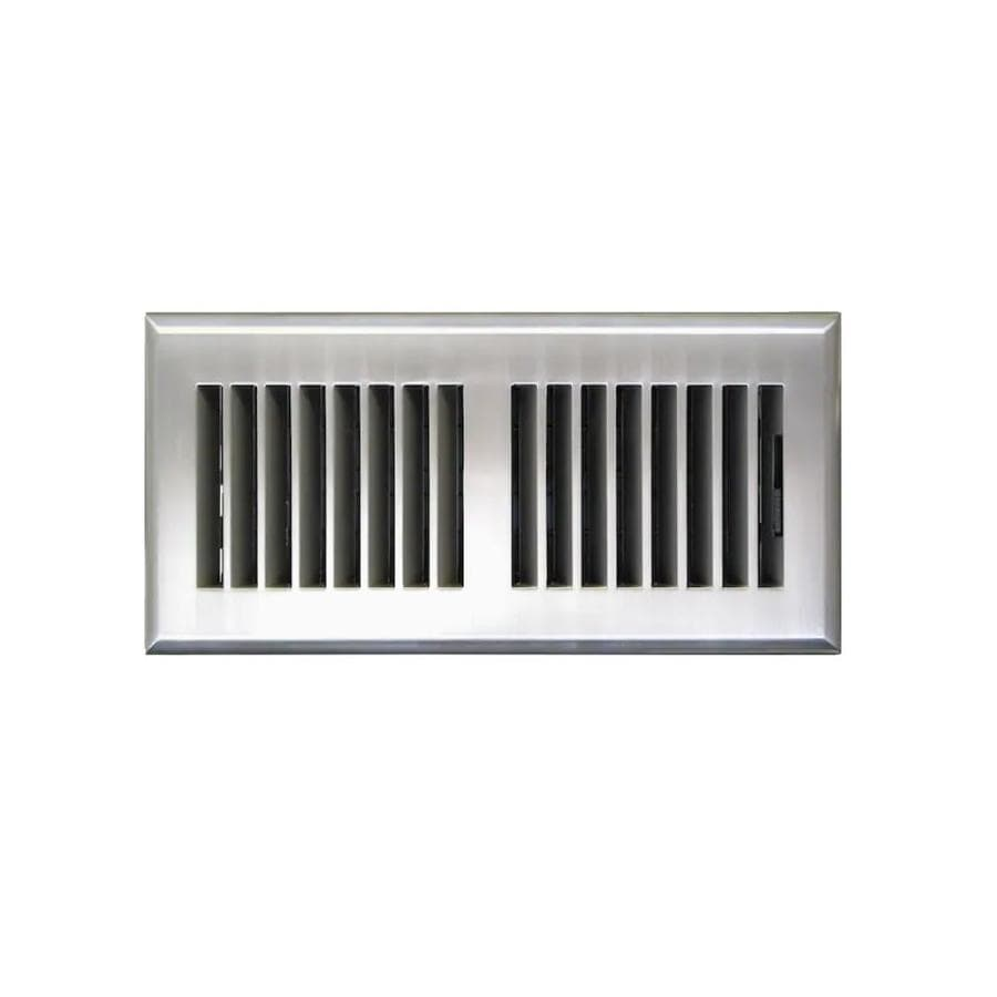 Accord Select Louvered Satin Nickel ABS Resin Floor Register (Rough Opening: 4-in x 10-in; Actual: 5.15-in x 11.42-in)