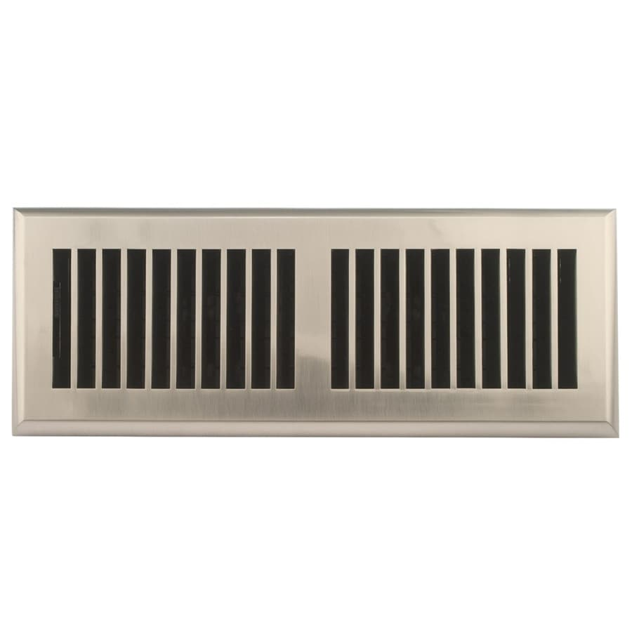 Accord Select Louvered Satin Nickel ABS Resin Floor Register (Rough Opening: 12-in x 4-in; Actual: 13.39-in x 5.4-in)