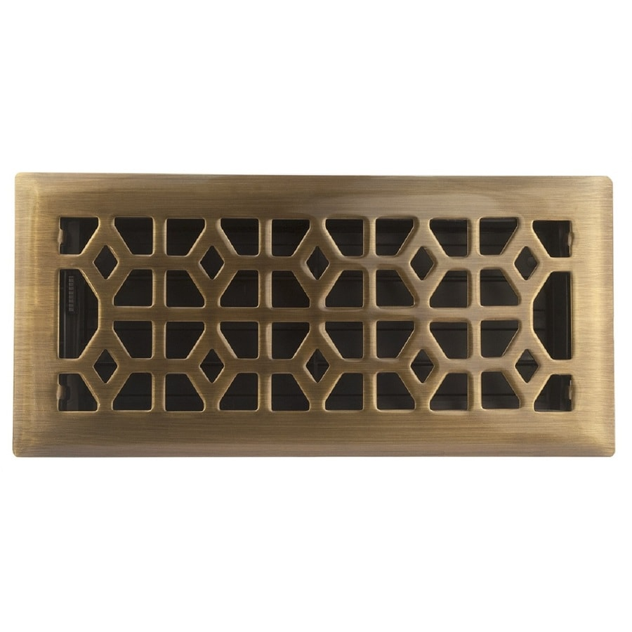Accord Select Marquis Antique Brass Steel Floor Register (Rough Opening: 10.0-in x 4.0-in; Actual: 11.44-in x 5.37-in)