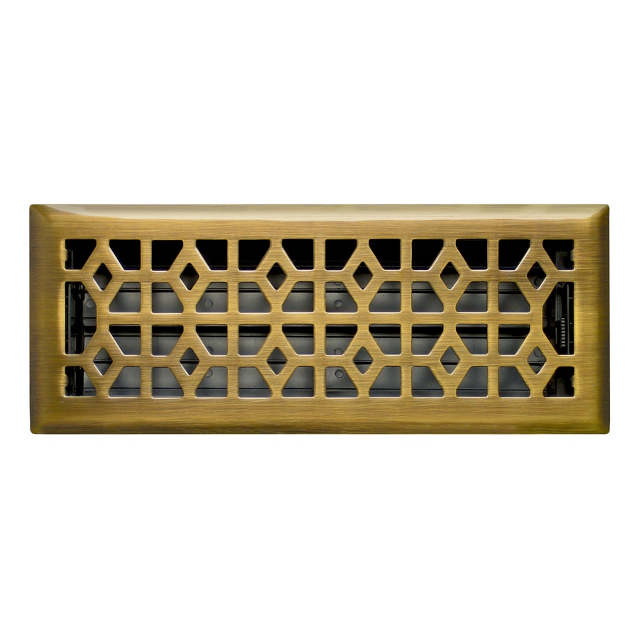 Accord Select Marquis Antique Brass Steel Floor Register (Rough Opening: 12.0-in x 4.0-in; Actual: 13.47-in x 5.36-in)