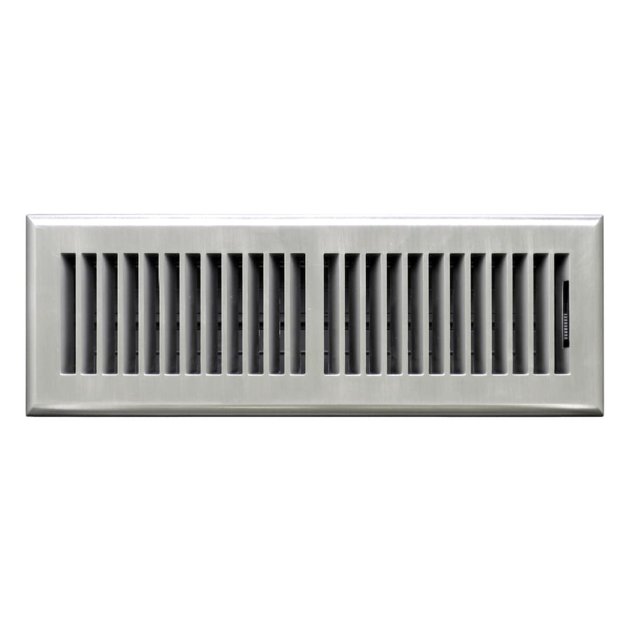 Accord Select Louvered Satin Nickel Abs Resin Floor Register (Rough Opening: 14-in x 4-in; Actual: 15.42-in x 5.37-in)