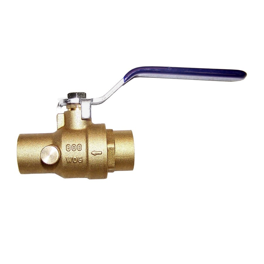 AMERICAN VALVE 1/2-in Brass Sweat In-Line Ball Valve with Integral Stop