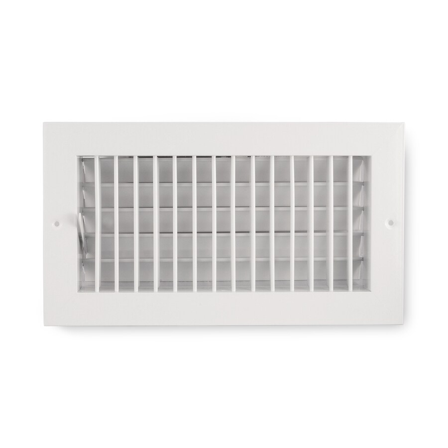 Accord Ventilation 455 Series White Aluminum Sidewall/Ceiling Register (Rough Opening: 4-in x 8-in; Actual: 9.73-in x 5.73-in)