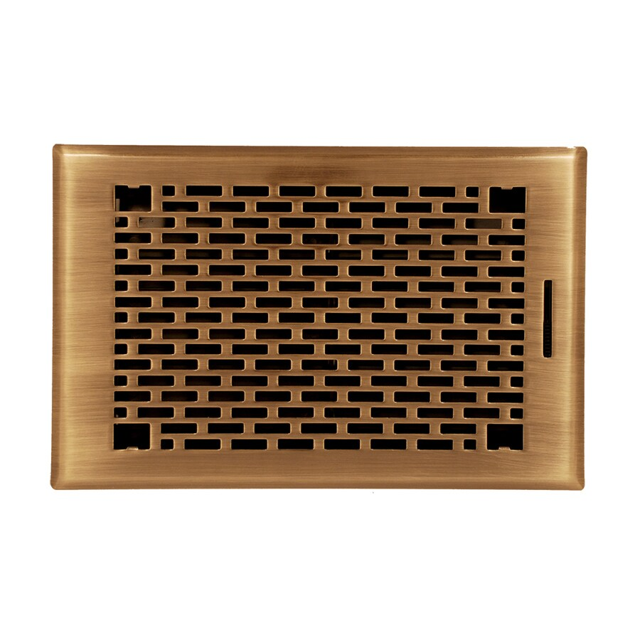 Accord Select Manhattan Antique Brass Steel Floor Register (Rough Opening: 10.0-in x 6.0-in; Actual: 11.42-in x 7.37-in)