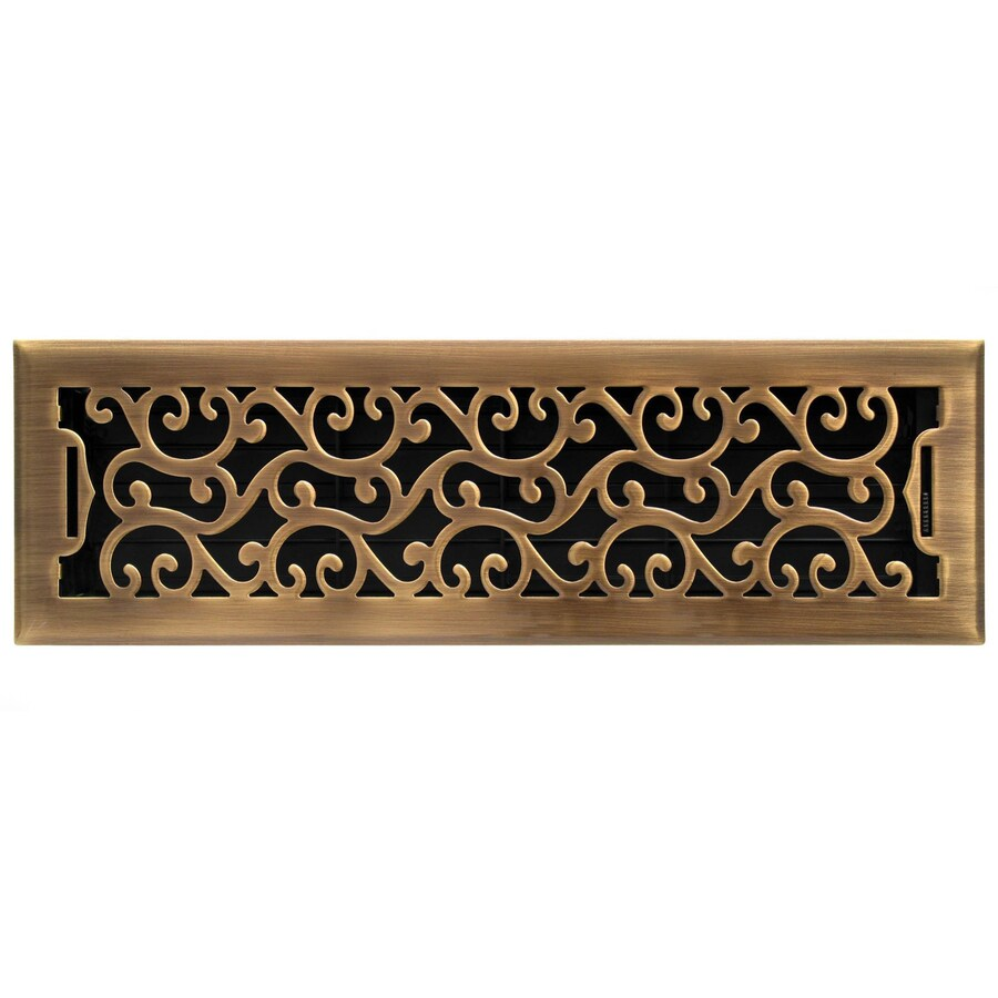 Accord Select Charleston Antique Brass Steel Floor Register (Rough Opening: 14.0-in x 4.0-in; Actual: 15.42-in x 5.37-in)