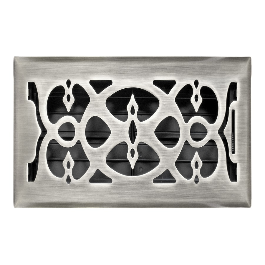 Accord Select Victorian Satin Nickel Steel Floor Register (Rough Opening: 6-in x 10-in; Actual: 7.37-in x 11.42-in)