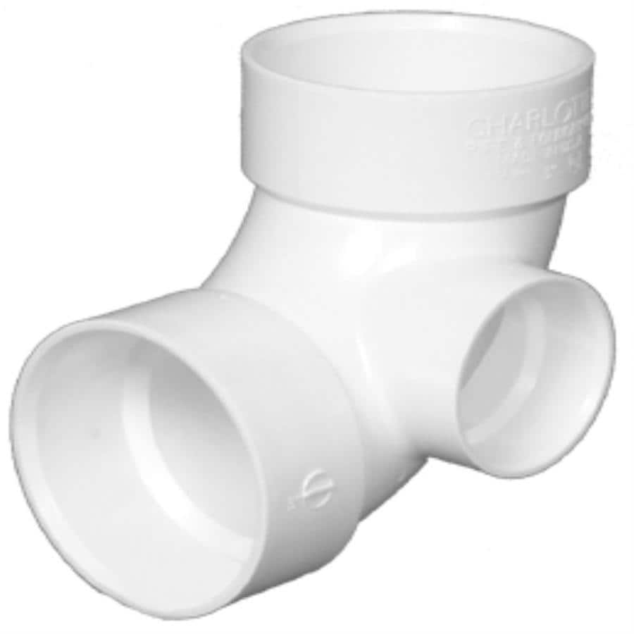 Charlotte Pipe 3-in x 3-in x 2-in dia 90-Degree PVC Elbow with Side Inlet Fitting