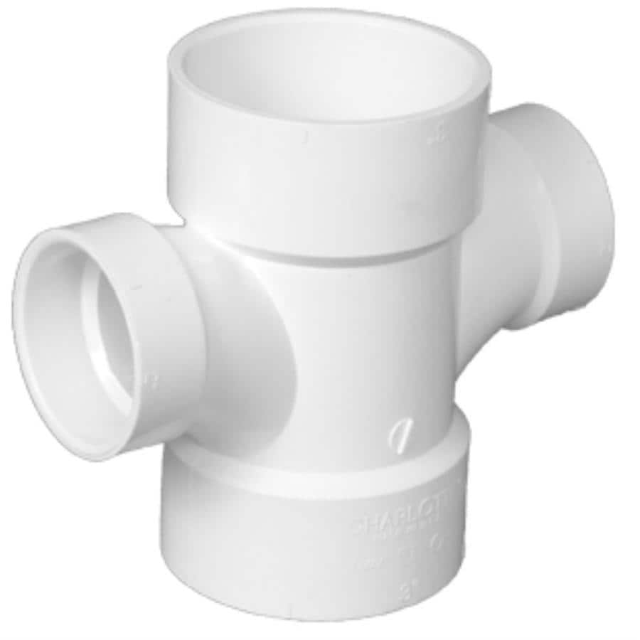 Charlotte Pipe 3-in x 3-in x 1-1/2-in x 1-1/2-in dia PVC Double Sanitary Tee Fitting