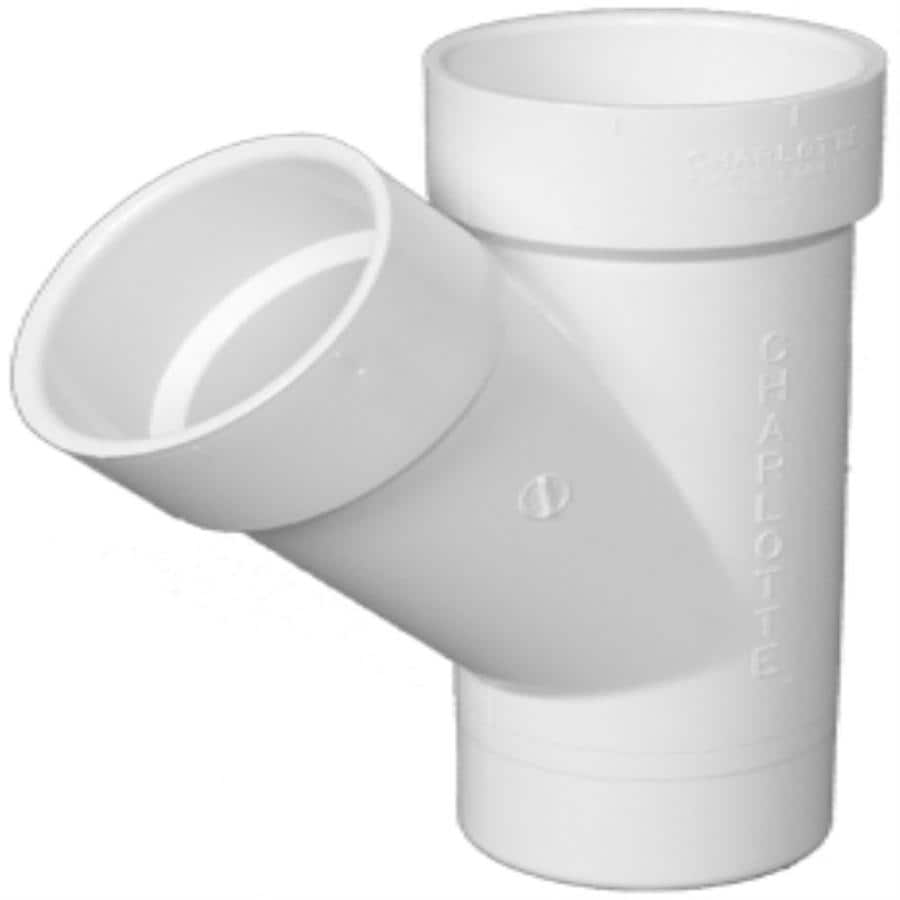 Charlotte Pipe 4-in dia 45-Degree PVC Wye Fitting