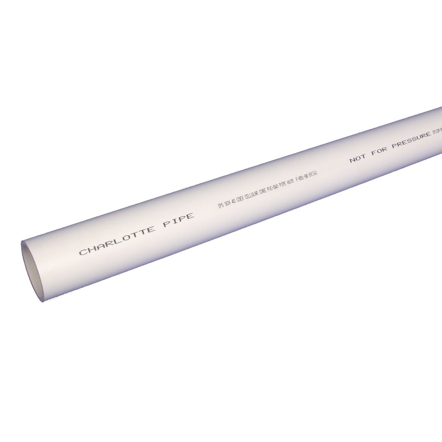 Charlotte Pipe 4-in x 10-ft 0 Sch 40 PVC DWV Pipe
