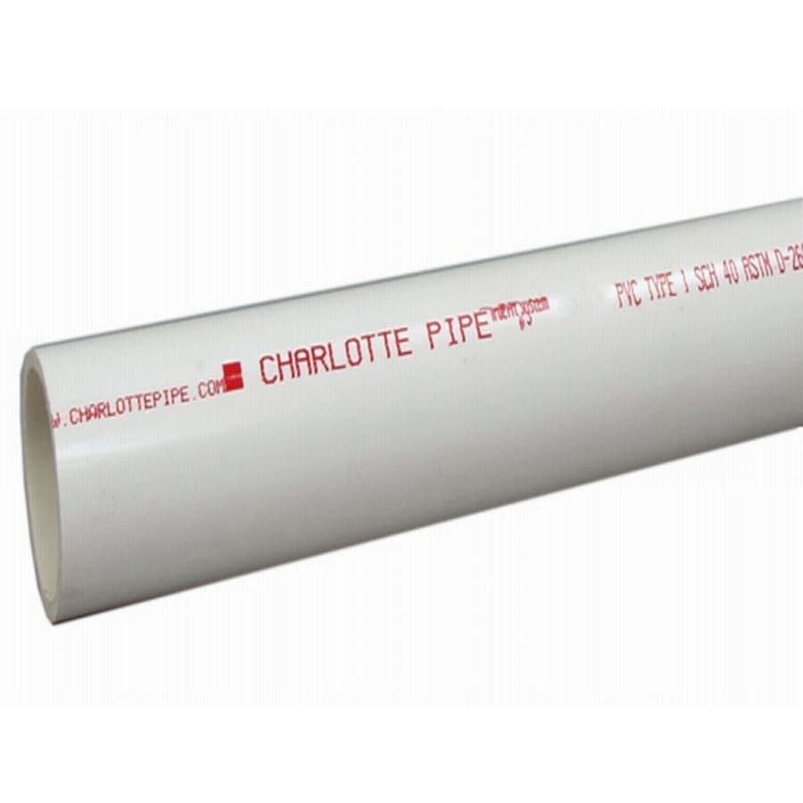 Charlotte Pipe 4-in x 5-ft 220-PSI Schedule 40 PVC Pipe