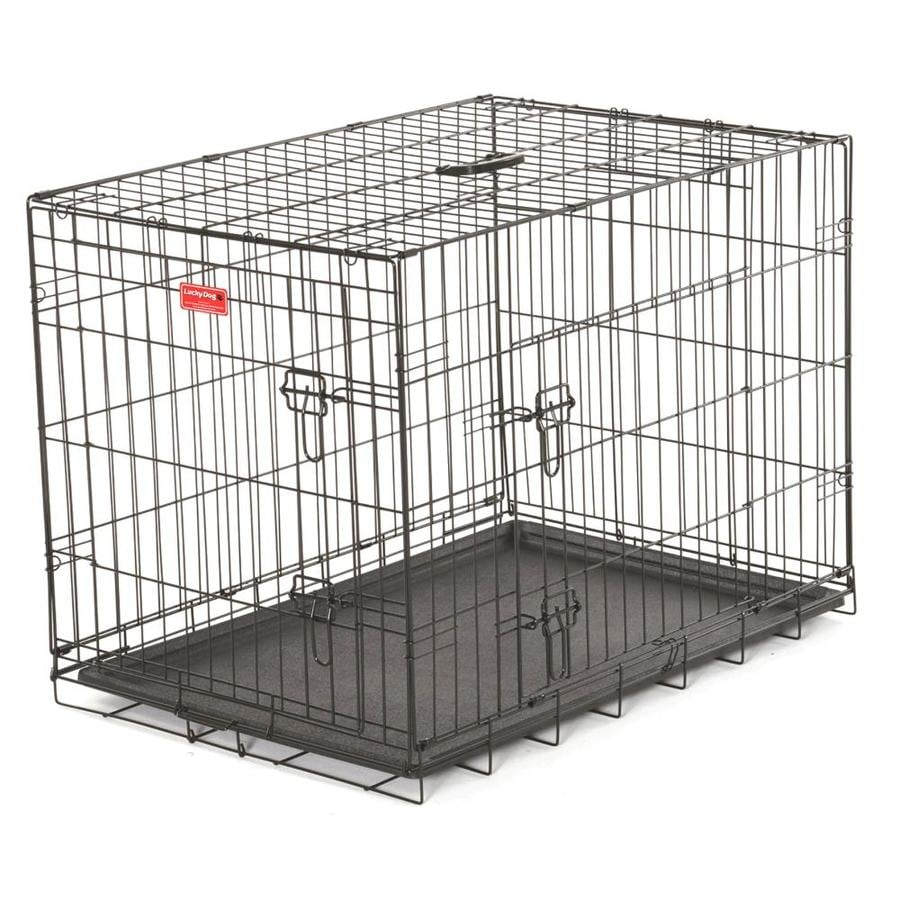 Lucky Dog 24-in x 18-in x 21-in Black Powder Coat Collapsible Plastic and Wire Pet Crate