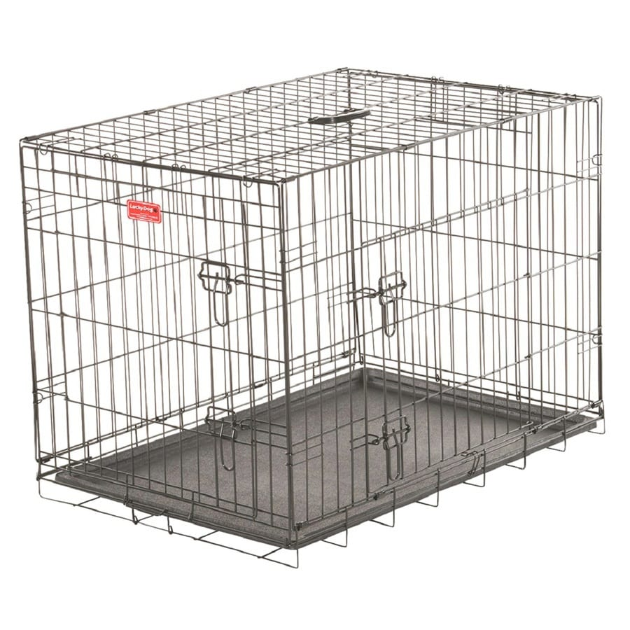 Lucky Dog 30-in x 21-in x 24-in Black Powder Coat Collapsible Plastic and Wire Pet Crate