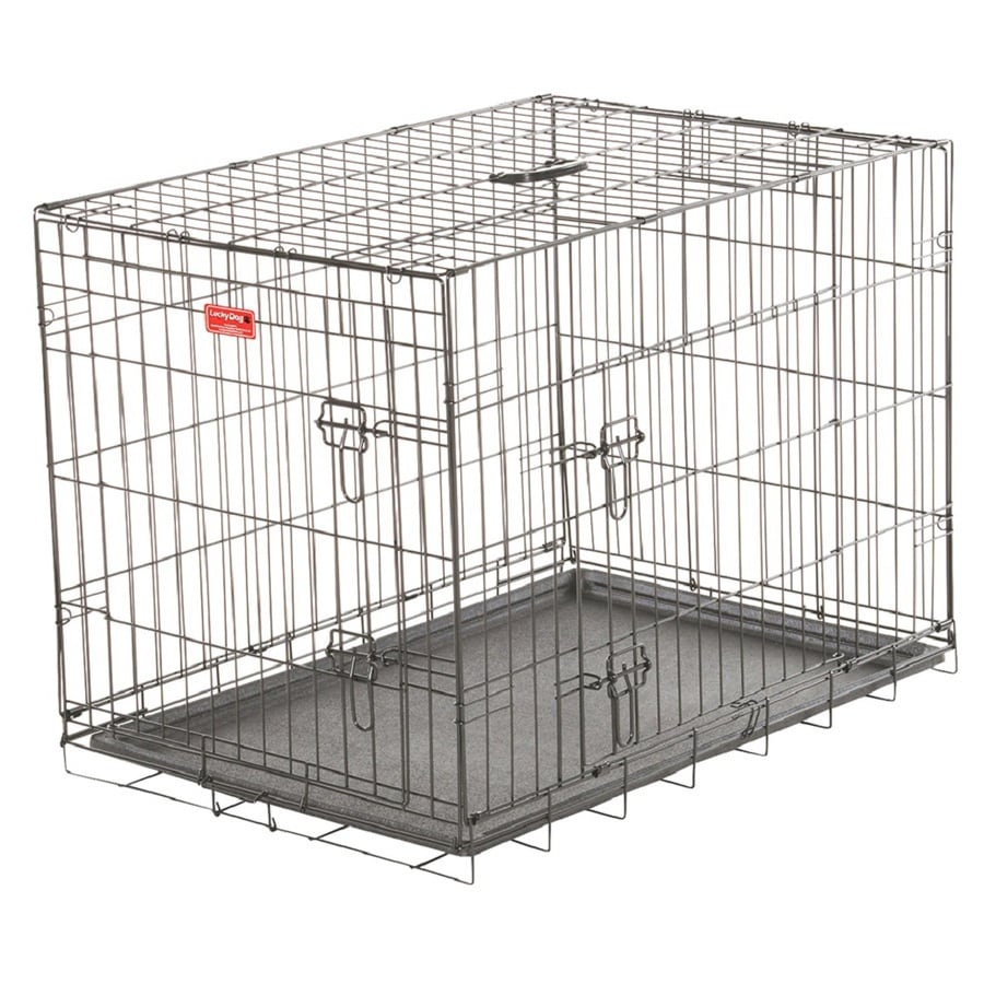 Lucky Dog 36-in x 24-in x 27-in Black Powder Coat Collapsible Plastic and Wire Pet Crate
