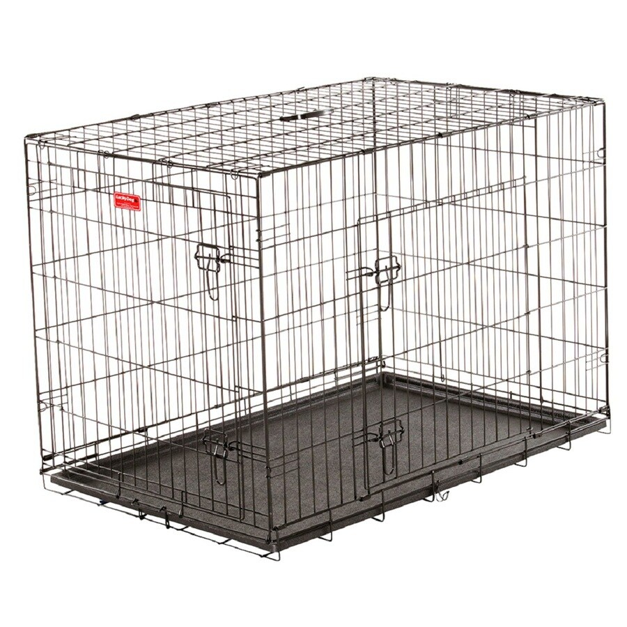 Lucky Dog 42-in x 42-in x 30.96-in Black Powder Coat Collapsible Plastic and Wire Pet Crate