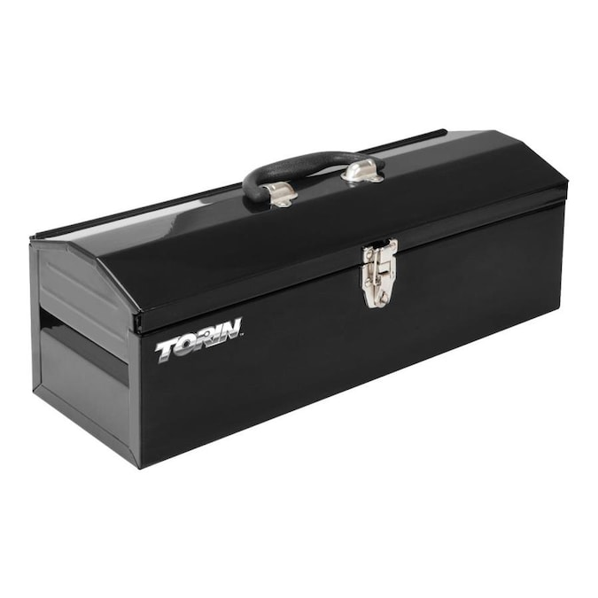 Black Torin ATB102B 16 Hip Roof Style Portable Steel Tool Box with Metal Latch Closure