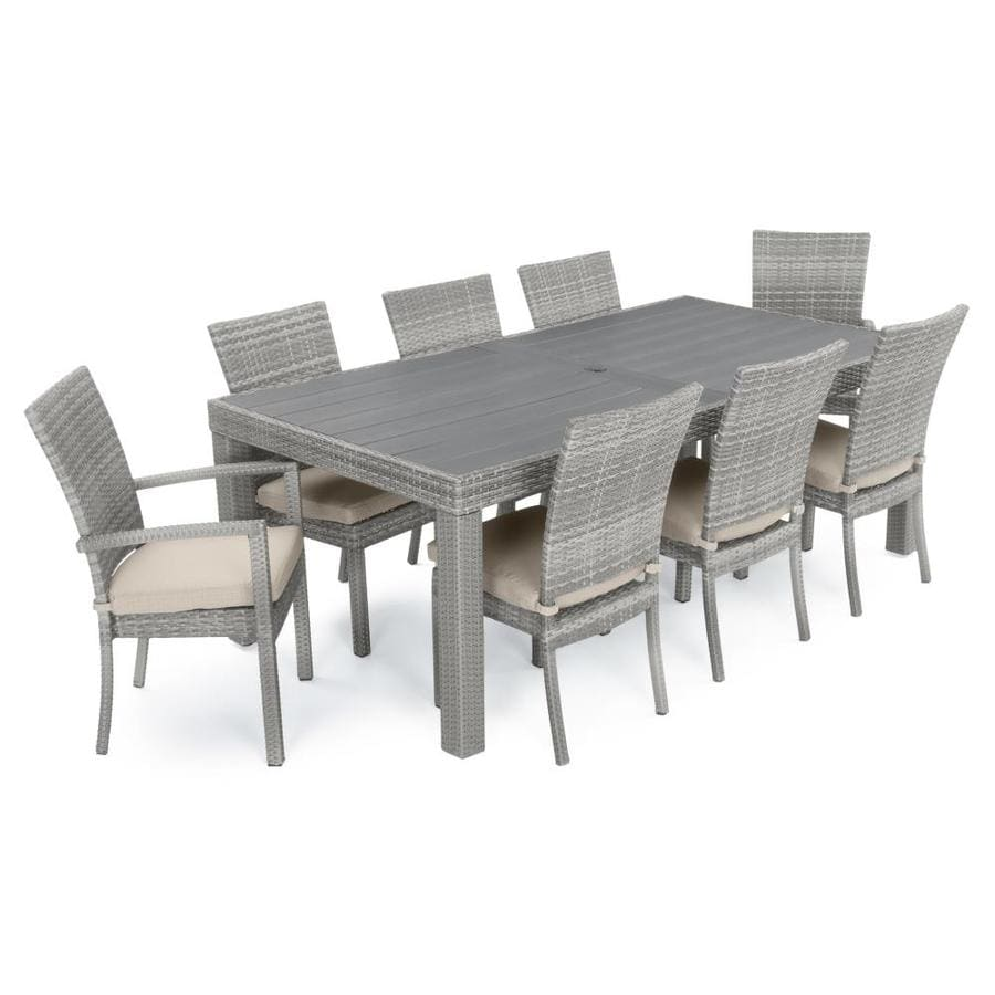 rst brands cannes 9 piece weathered grey wicker dining patio dining