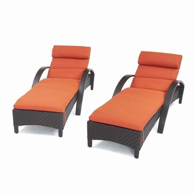 RST Brands Barcelo Set of 2 Brown Wicker Metal Stationary Chaise Lounge Chair(s) with Sunbrella Cushioned Seat