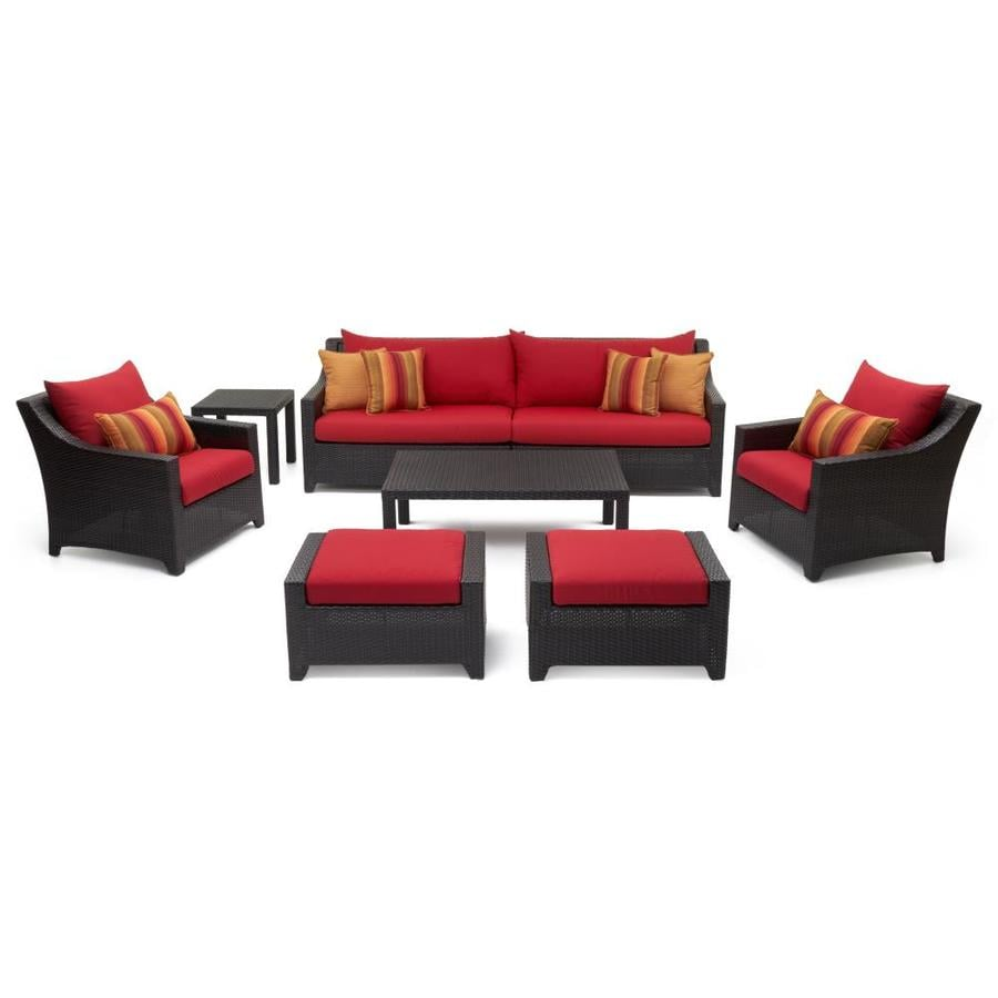 Rst brands deco sunset red 8 piece outdoor sofa and club chair conversation set