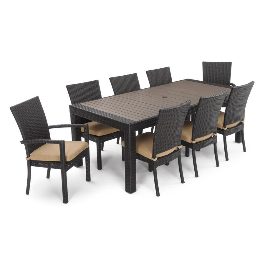 9 piece outdoor dining set teak dining rst brands deco maxim beige 9piece outdoor dining set at lowescom