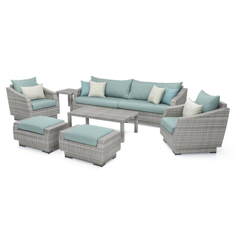Rst Brands Cannes 8 Piece Metal Frame Patio Conversation Set With Sunbrella Cushions In The Patio Conversation Sets Department At Lowes Com