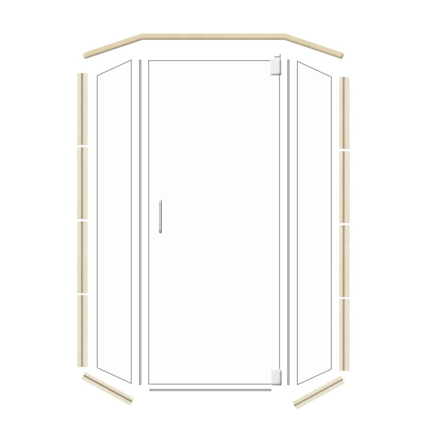 American Bath Factory 38-in W x 70-in H Polished Chrome Frameless Neo-Angle Shower Door