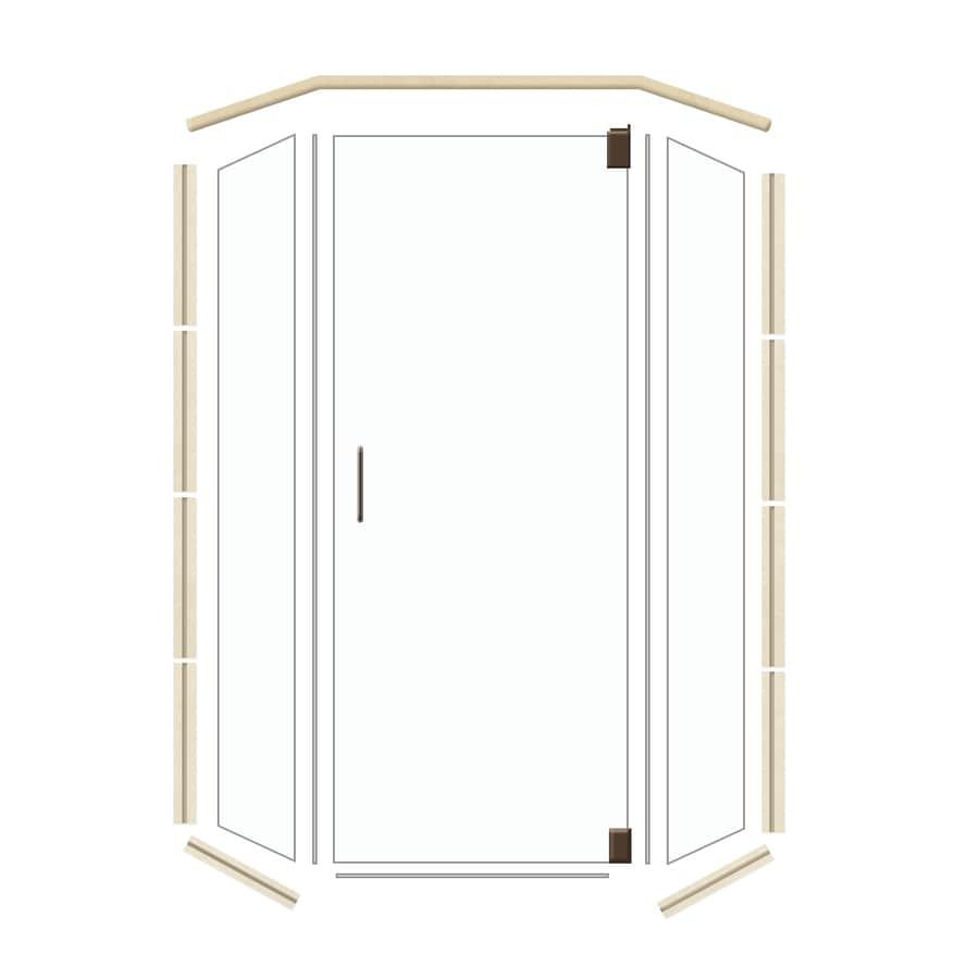 American Bath Factory 36-in W x 70-in H Dark Bronze Frameless Neo-Angle Shower Door