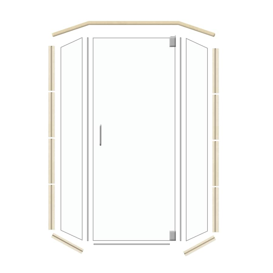 American Bath Factory 42-in W x 70-in H Brushed Nickel Frameless Neo-Angle Shower Door