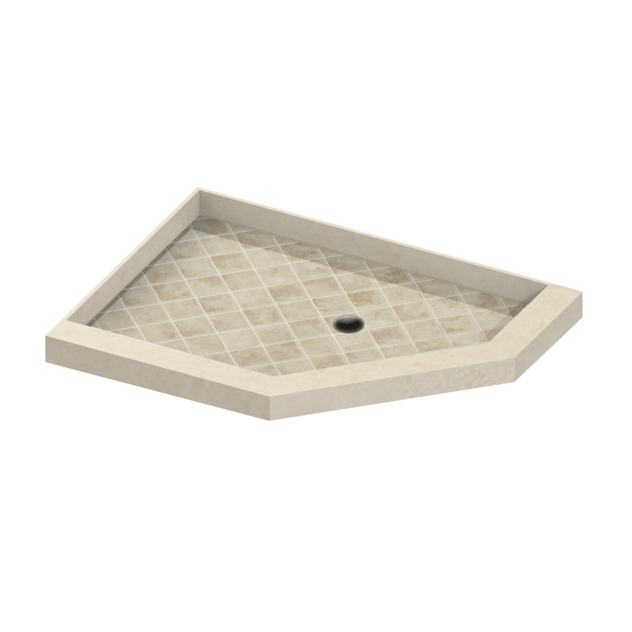 American Bath Factory 36-in L x 32-in W Medium with Dark Accent Molded Stone Neo-Angle Corner Shower Base