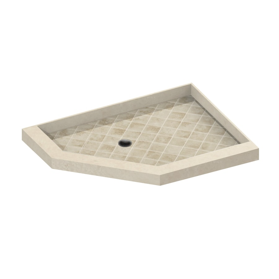American Bath Factory 42-in L x 36-in W Medium with Dark Accent Molded Stone Neo-Angle Corner Shower Base