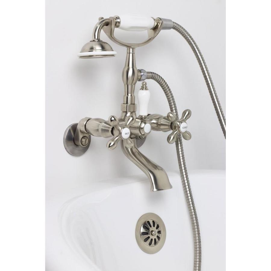 American Bath Factory Satin Nickel 3-Handle Adjustable Wall-Mount Bathtub Faucet