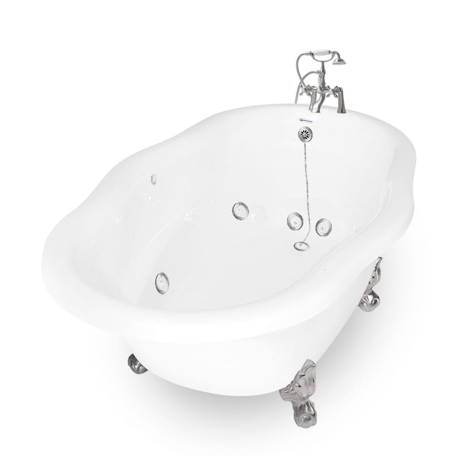 American Bath Factory Caspian 72-in White Acrylic Clawfoot Whirlpool Tub with Right-Hand Drain