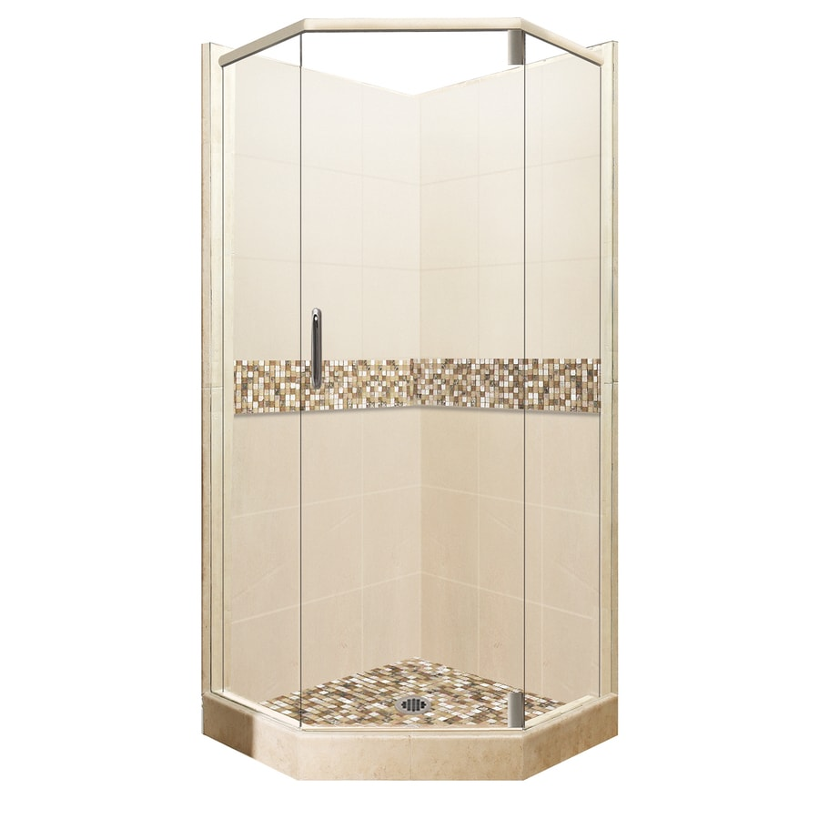 American Bath Factory Mesa Medium With Mesa Mosaic Tiles Sistine Stone Wall Stone Composite Floor Neo-angle 13-Piece Corner Shower Kit (Actual: 80-in x 36-in x 36-in)