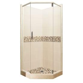 lowes corner shower kit. American Bath Factory Mesa Medium With Mosaic Tiles Sistine Stone Wall  Composite Floor Neo Shop Corner Shower Kits at Lowes com