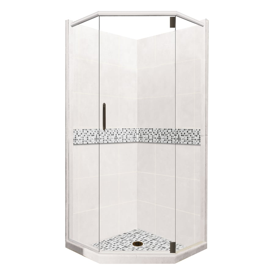 American Bath Factory Laguna Light with Accent Fiberglass and Plastic Wall Stone Composite Floor Neo-Angle 14-Piece Corner Shower Kit (Actual: 80-in x 36-in x 36-in)