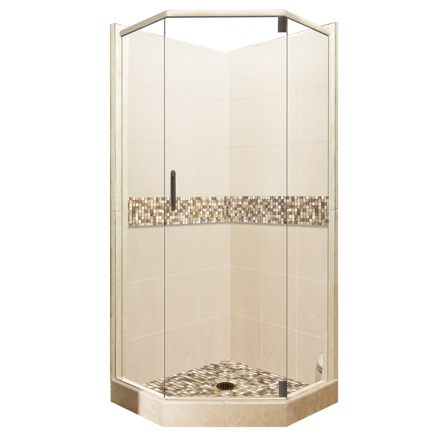American Bath Factory Mesa Medium with Accent Fiberglass and Plastic Wall Stone Composite Floor Neo-Angle 14-Piece Corner Shower Kit (Actual: 80-in x 42-in x 42-in)