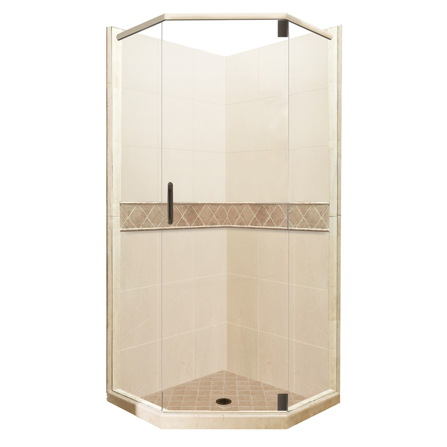 American Bath Factory Flagstaff Medium with Dark Accent Sistine Stone Wall Stone Composite Floor Neo-Angle 14-Piece Corner Shower Kit (Actual: 80-in x 42-in x 42-in)