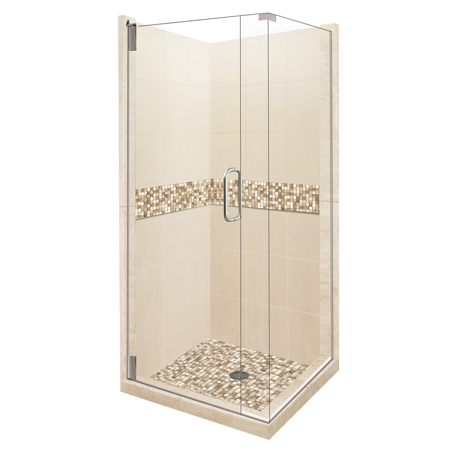 American Bath Factory Mesa Medium with Accent Fiberglass and Plastic Wall Stone Composite Floor Square 14-Piece Corner Shower Kit (Actual: 80-in x 42-in x 42-in)